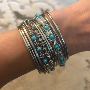 Jewelry - Turquoise and Silver Bangle Set
